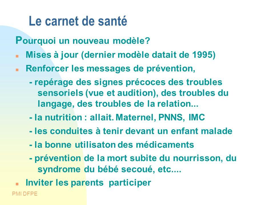PMI DFPE Le carnet de santé A plusieurs fonctions : lien entre les différents professionnels de santé, « mémoire » des événements de santé pour l enfant et sa famille, puis l adulte; c est aussi un outil d éducation à la santé