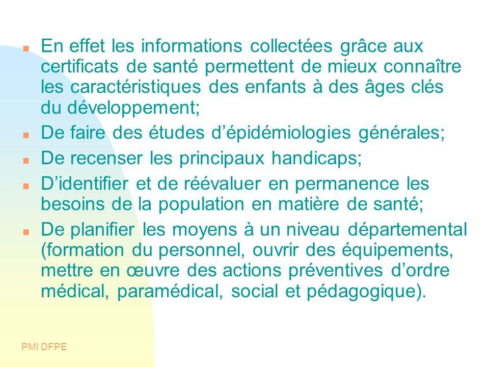 PMI DFPE En effet les informations collectées grâce aux certificats de santé permettent de mieux connaître les caractéristiques des enfants à des âges