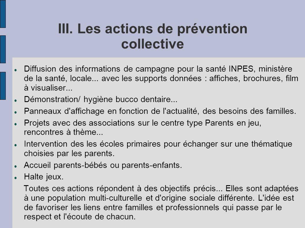 III. Les actions de prévention collective Diffusion des informations de campagne pour la santé INPES, ministère de la santé, locale... avec les suppor