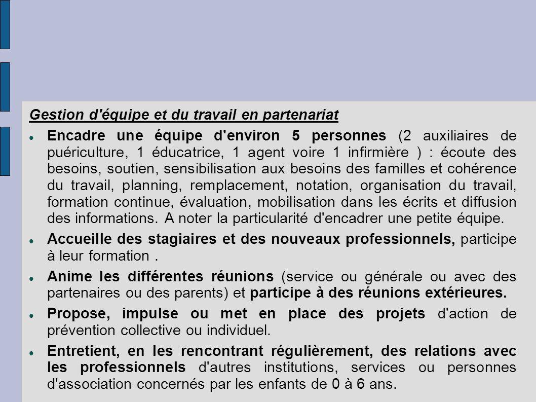 Gestion d'équipe et du travail en partenariat Encadre une équipe d'environ 5 personnes (2 auxiliaires de puériculture, 1 éducatrice, 1 agent voire 1 i