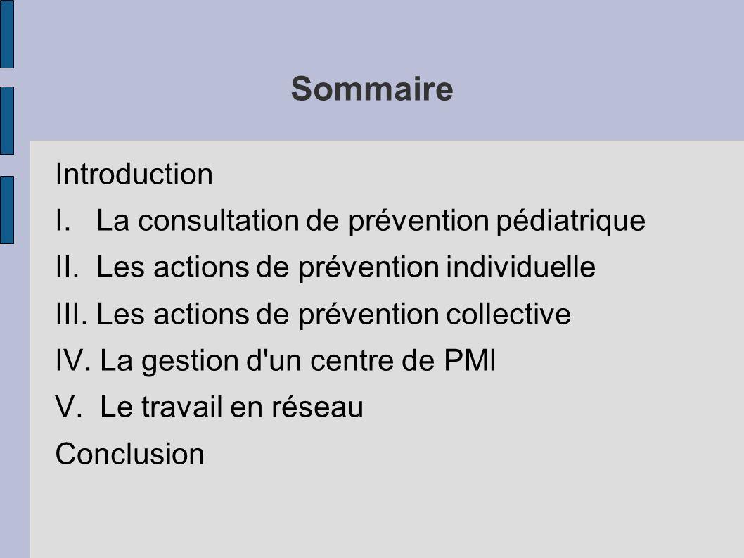 Sommaire Introduction I. La consultation de prévention pédiatrique II. Les actions de prévention individuelle III. Les actions de prévention collectiv