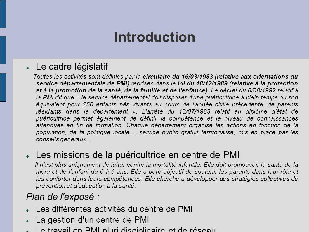 Introduction Le cadre législatif Toutes les activités sont définies par la circulaire du 16/03/1983 (relative aux orientations du service départementa