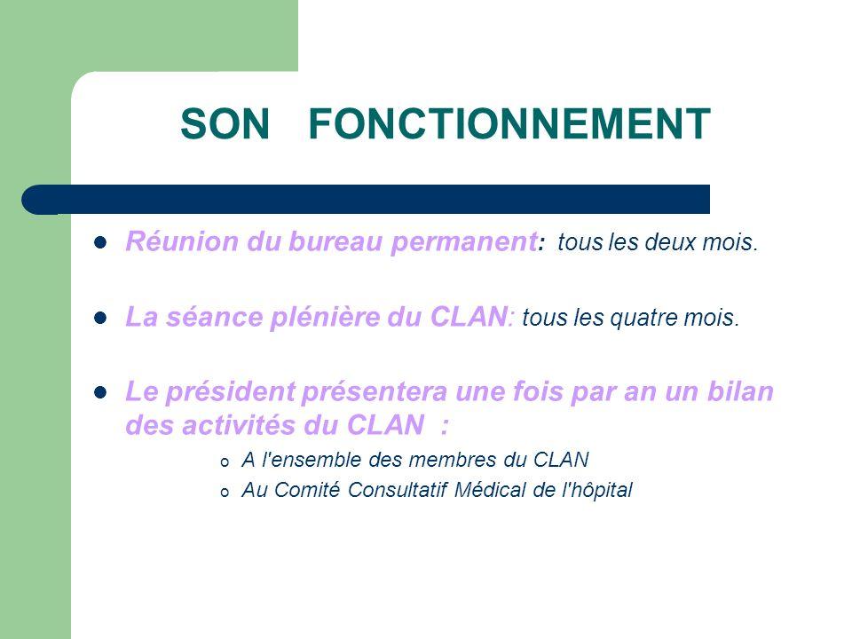 SON FONCTIONNEMENT Réunion du bureau permanent : tous les deux mois.