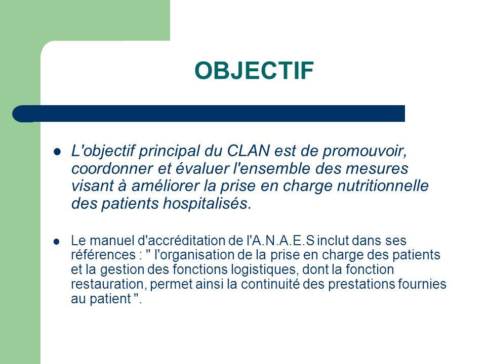 OBJECTIF L objectif principal du CLAN est de promouvoir, coordonner et évaluer l ensemble des mesures visant à améliorer la prise en charge nutritionnelle des patients hospitalisés.