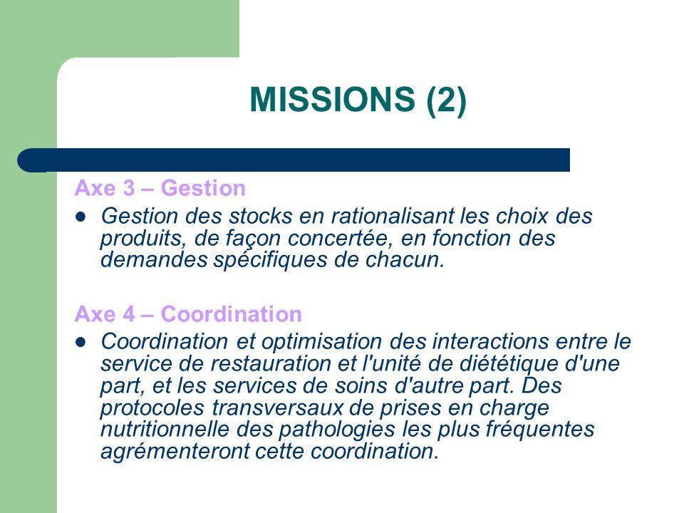 MISSIONS (2) Axe 3 – Gestion Gestion des stocks en rationalisant les choix des produits, de façon concertée, en fonction des demandes spécifiques de chacun.