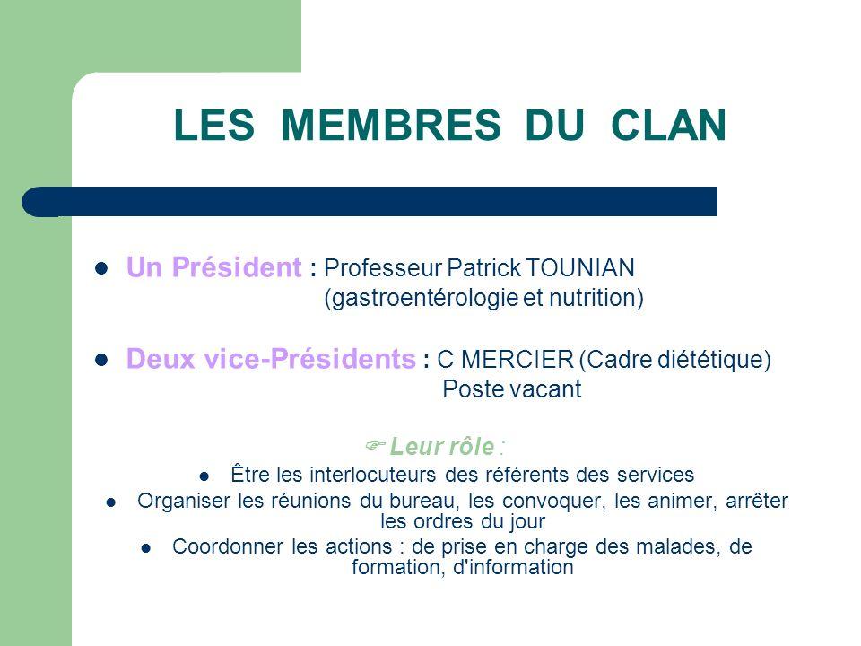 LES MEMBRES DU CLAN (2) Un bureau permanent : o Pr.