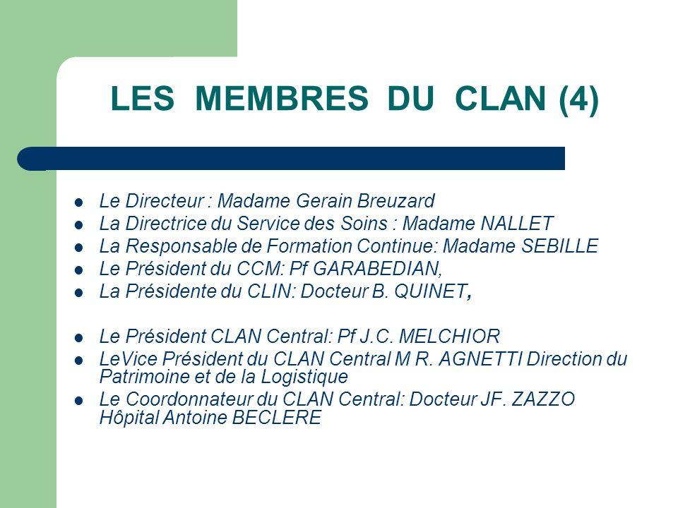 LES MEMBRES DU CLAN (4) Le Directeur : Madame Gerain Breuzard La Directrice du Service des Soins : Madame NALLET La Responsable de Formation Continue: Madame SEBILLE Le Président du CCM: Pf GARABEDIAN, La Présidente du CLIN: Docteur B.