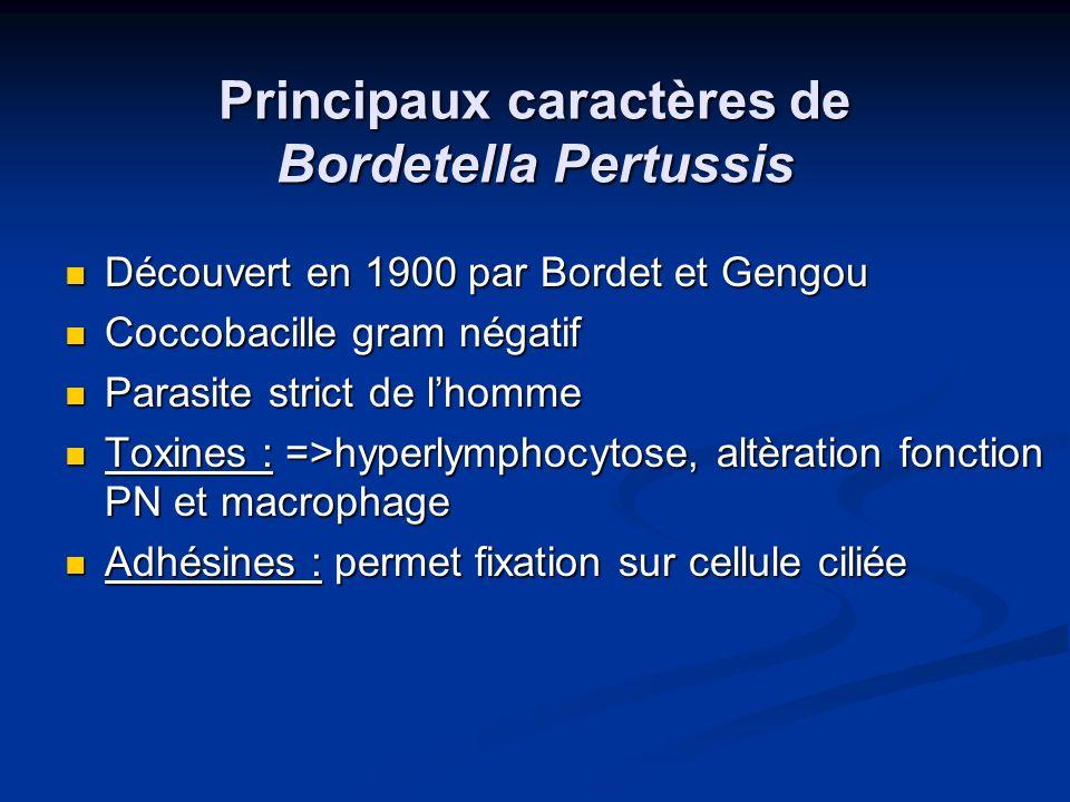 Principaux caractères de Bordetella Pertussis Découvert en 1900 par Bordet et Gengou Découvert en 1900 par Bordet et Gengou Coccobacille gram négatif