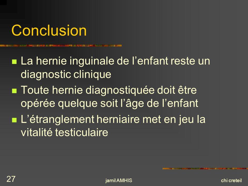 jamil AMHISchi creteil 27 Conclusion La hernie inguinale de lenfant reste un diagnostic clinique Toute hernie diagnostiquée doit être opérée quelque s