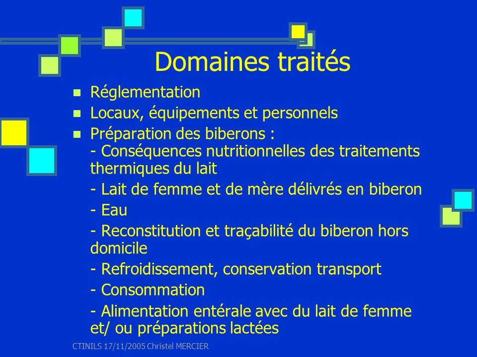CTINILS 17/11/2005 Christel MERCIER Domaines traités Réglementation Locaux, équipements et personnels Préparation des biberons : - Conséquences nutrit