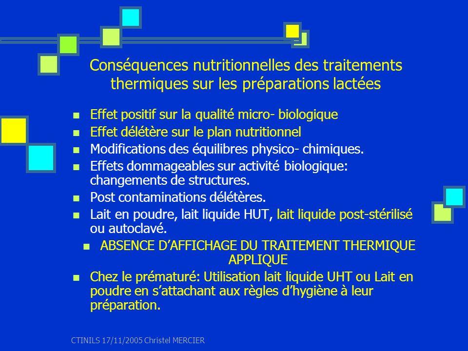 CTINILS 17/11/2005 Christel MERCIER Conséquences nutritionnelles des traitements thermiques sur les préparations lactées Effet positif sur la qualité