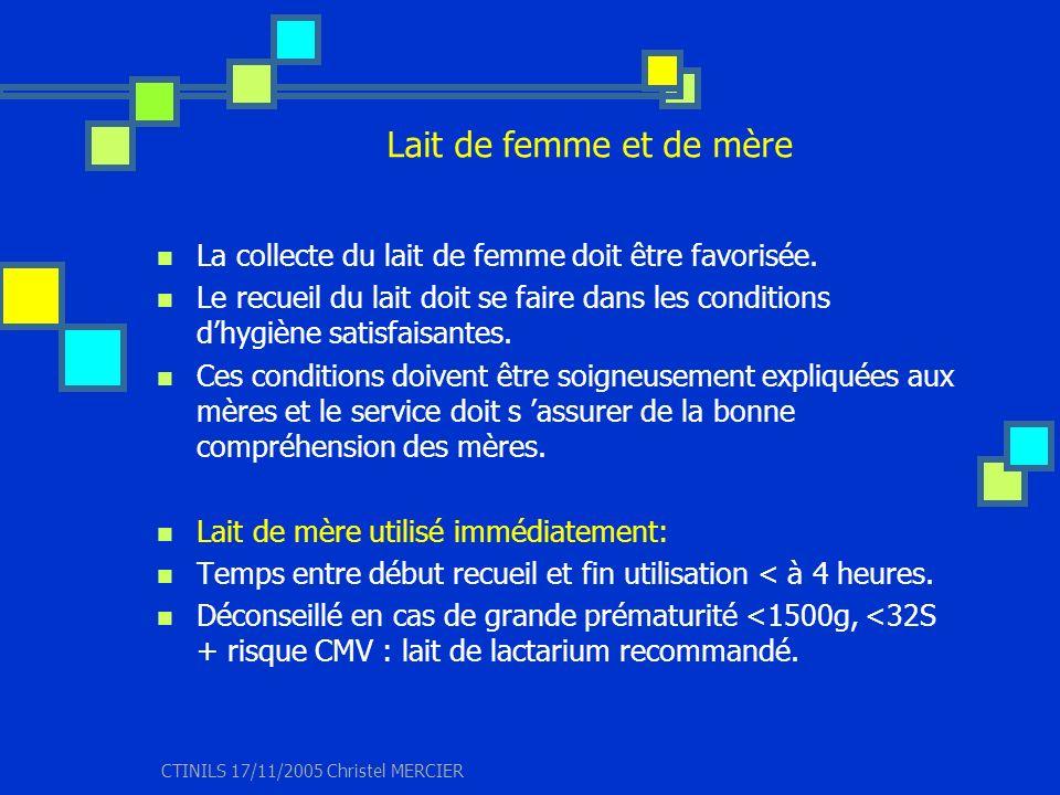 CTINILS 17/11/2005 Christel MERCIER Lait de femme et de mère La collecte du lait de femme doit être favorisée. Le recueil du lait doit se faire dans l