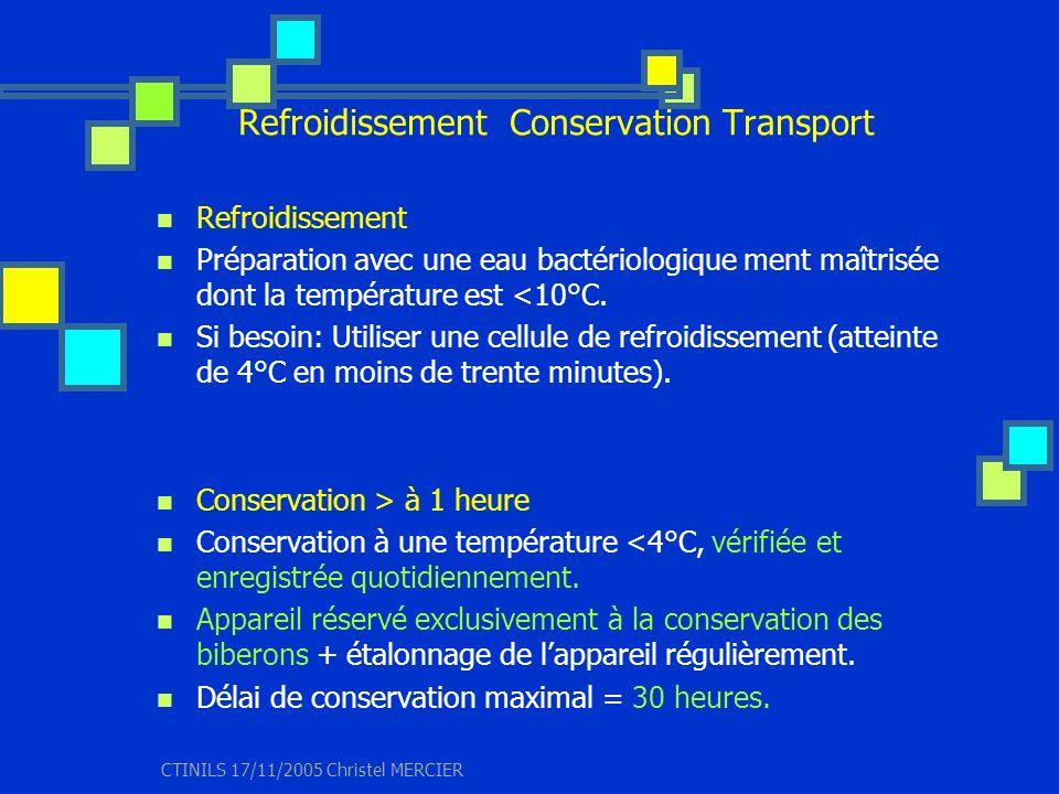 CTINILS 17/11/2005 Christel MERCIER Refroidissement Conservation Transport Refroidissement Préparation avec une eau bactériologique ment maîtrisée don