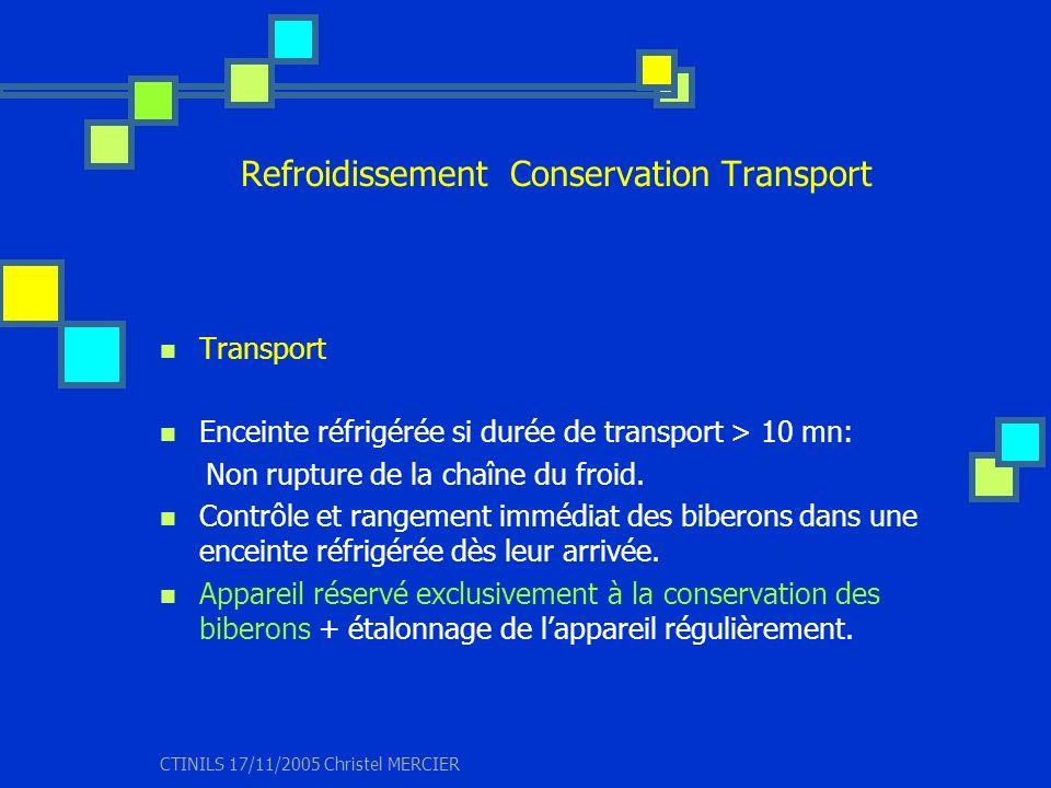 CTINILS 17/11/2005 Christel MERCIER Refroidissement Conservation Transport Transport Enceinte réfrigérée si durée de transport > 10 mn: Non rupture de