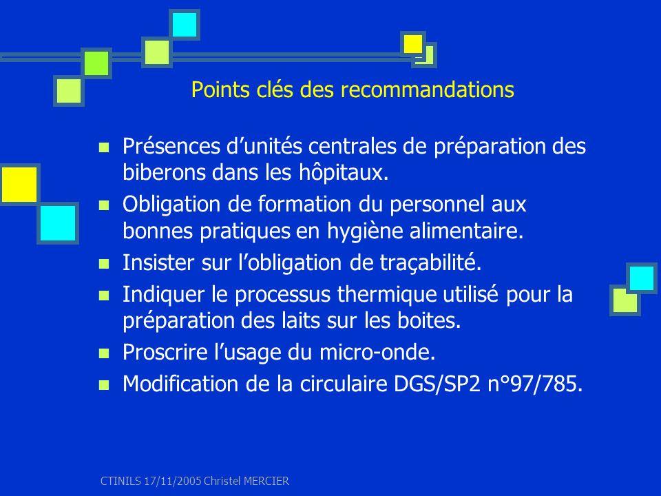 CTINILS 17/11/2005 Christel MERCIER Points clés des recommandations Présences dunités centrales de préparation des biberons dans les hôpitaux. Obligat