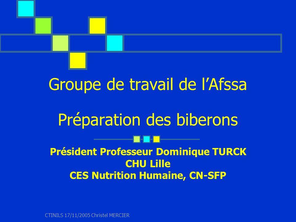 CTINILS 17/11/2005 Christel MERCIER Contexte Saisine de lAfssa 04/11/2004 par (DGS) demande de recommandations en matière dhygiène pour la préparation et la conservation des biberons en crèche et en établissement hospitalier