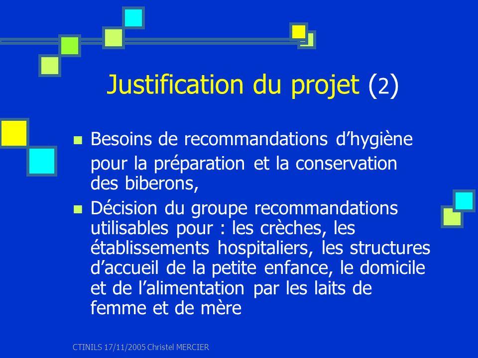 CTINILS 17/11/2005 Christel MERCIER Justification du projet ( 2 ) Besoins de recommandations dhygiène pour la préparation et la conservation des biber