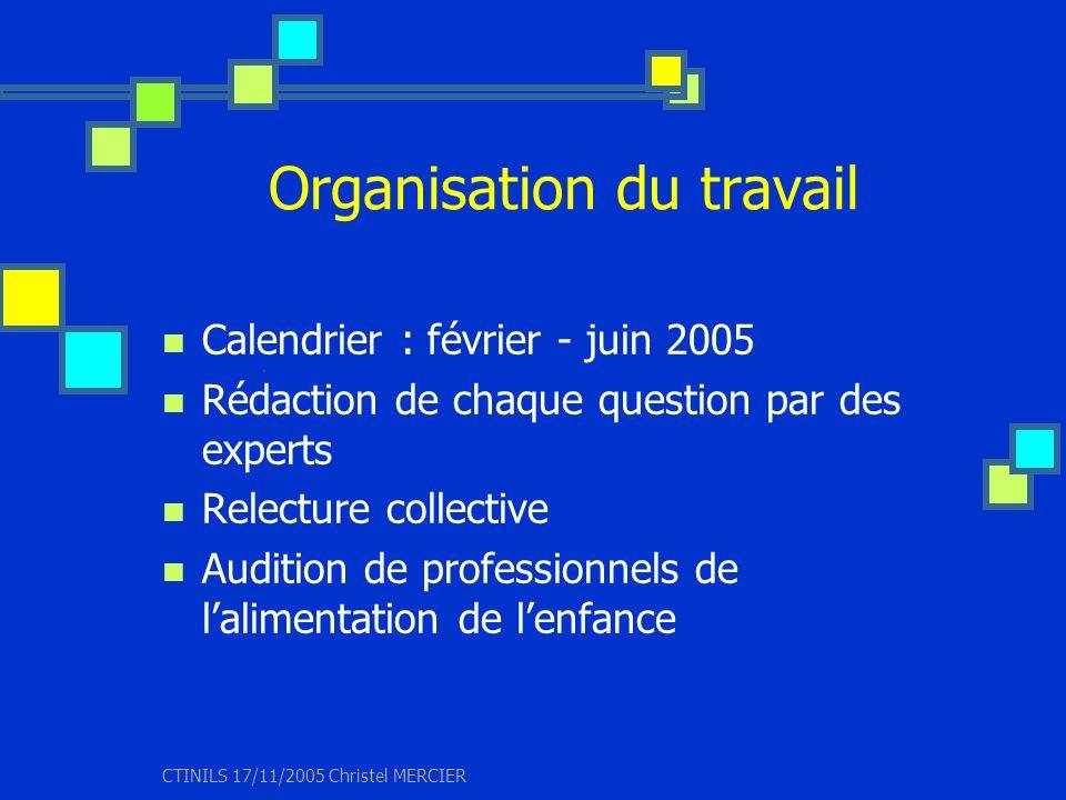 CTINILS 17/11/2005 Christel MERCIER Organisation du travail Calendrier : février - juin 2005 Rédaction de chaque question par des experts Relecture co