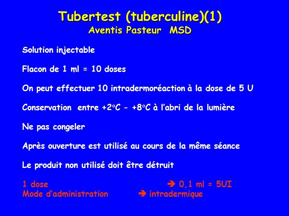 Solution injectable Flacon de 1 ml = 10 doses On peut effectuer 10 intradermoréaction à la dose de 5 U Conservation entre +2°C - +8°C à labri de la lu