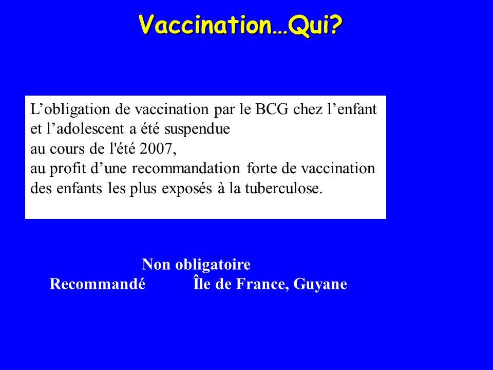 Vaccination…Qui? Lobligation de vaccination par le BCG chez lenfant et ladolescent a été suspendue au cours de l'été 2007, au profit dune recommandati