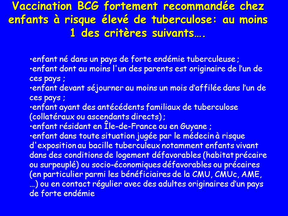 Vaccination BCG fortement recommandée chez enfants à risque élevé de tuberculose: au moins 1 des critères suivants…. enfant né dans un pays de forte e