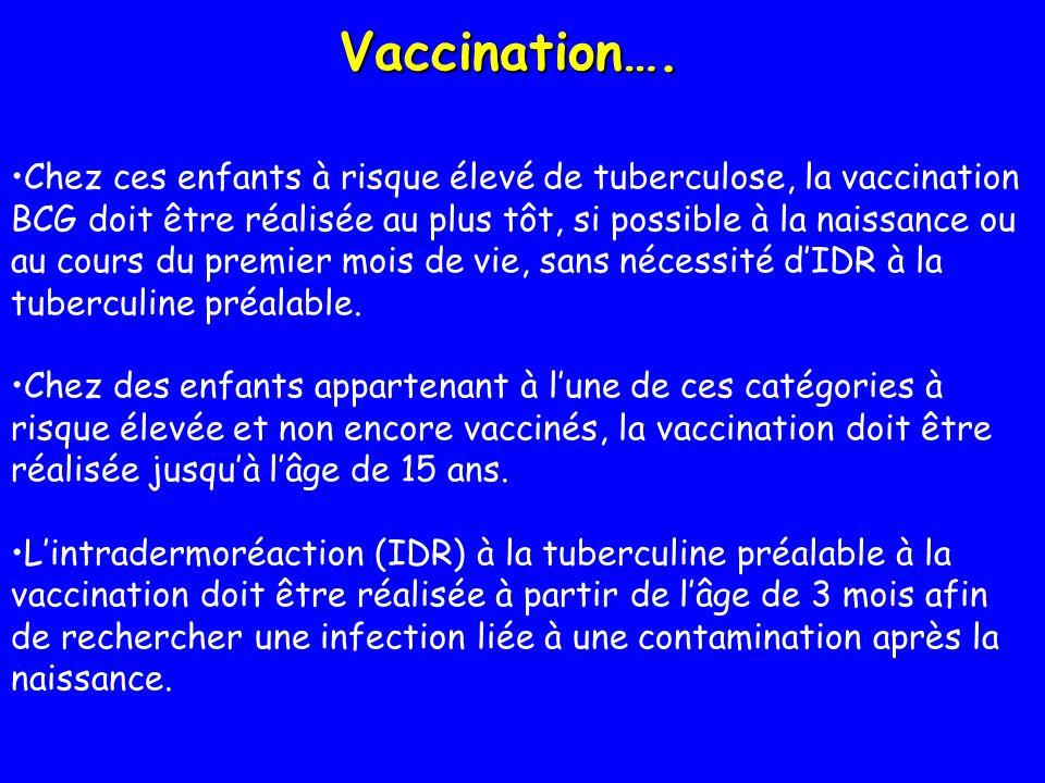 Vaccination…. Chez ces enfants à risque élevé de tuberculose, la vaccination BCG doit être réalisée au plus tôt, si possible à la naissance ou au cour