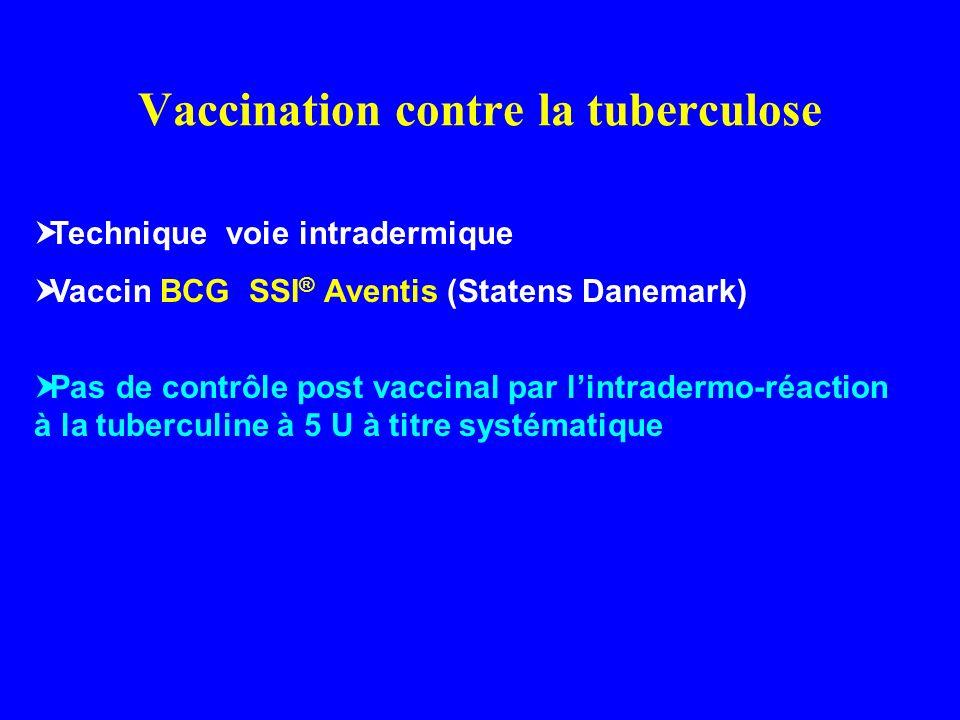 Vaccination contre la tuberculose Technique voie intradermique Vaccin BCG SSI ® Aventis (Statens Danemark) Pas de contrôle post vaccinal par lintrader