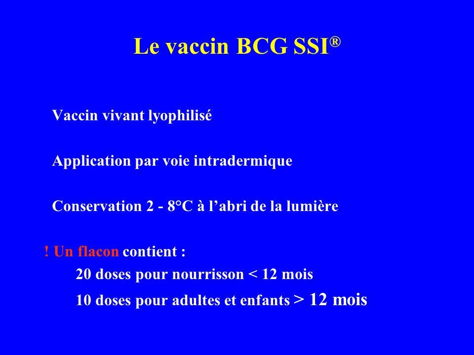 Le vaccin BCG SSI ® Vaccin vivant lyophilisé Application par voie intradermique Conservation 2 - 8°C à labri de la lumière ! Un flacon contient : 20 d