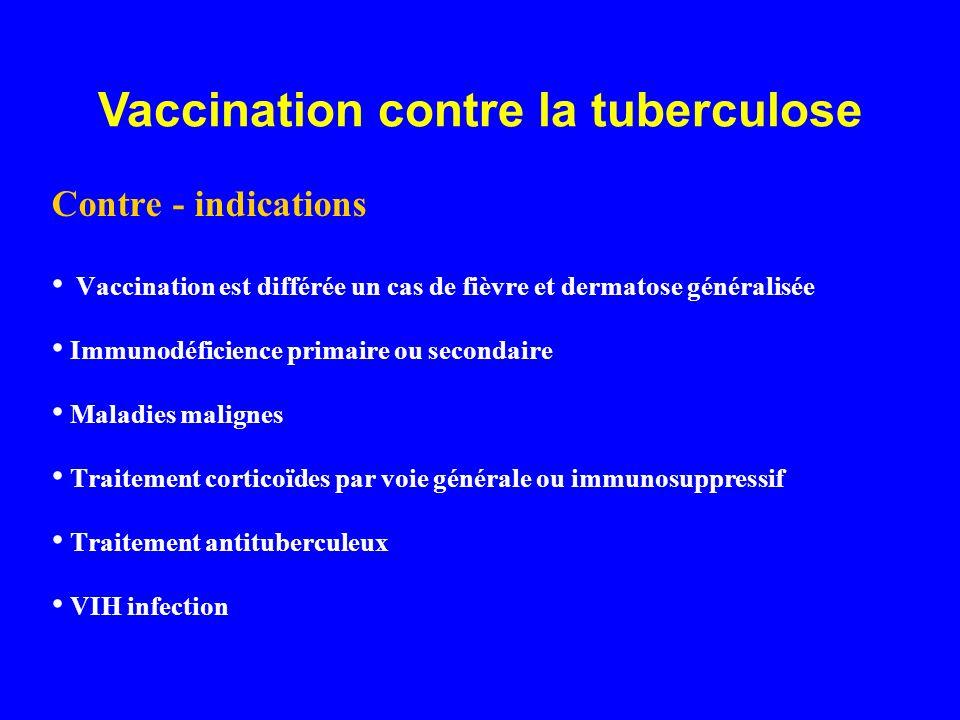 Contre - indications Vaccination est différée un cas de fièvre et dermatose généralisée Immunodéficience primaire ou secondaire Maladies malignes Trai