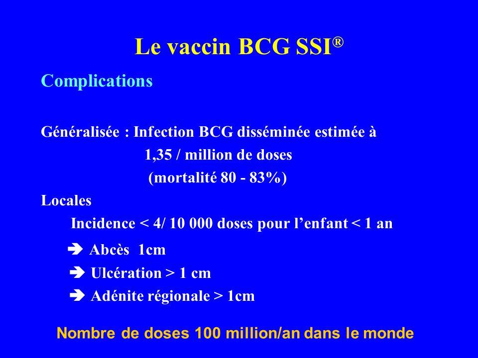 Complications Généralisée : Infection BCG disséminée estimée à 1,35 / million de doses (mortalité 80 - 83%) Locales Incidence < 4/ 10 000 doses pour l