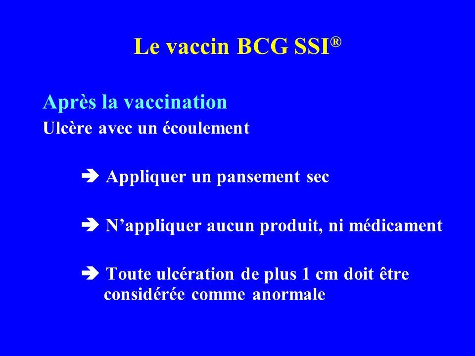 Après la vaccination Ulcère avec un écoulement Appliquer un pansement sec Nappliquer aucun produit, ni médicament Toute ulcération de plus 1 cm doit ê