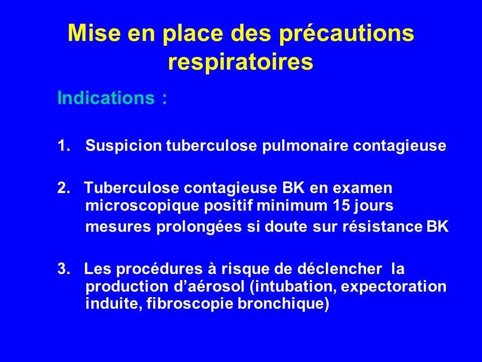 Mise en place des précautions respiratoires Indications : 1.Suspicion tuberculose pulmonaire contagieuse 2. Tuberculose contagieuse BK en examen micro