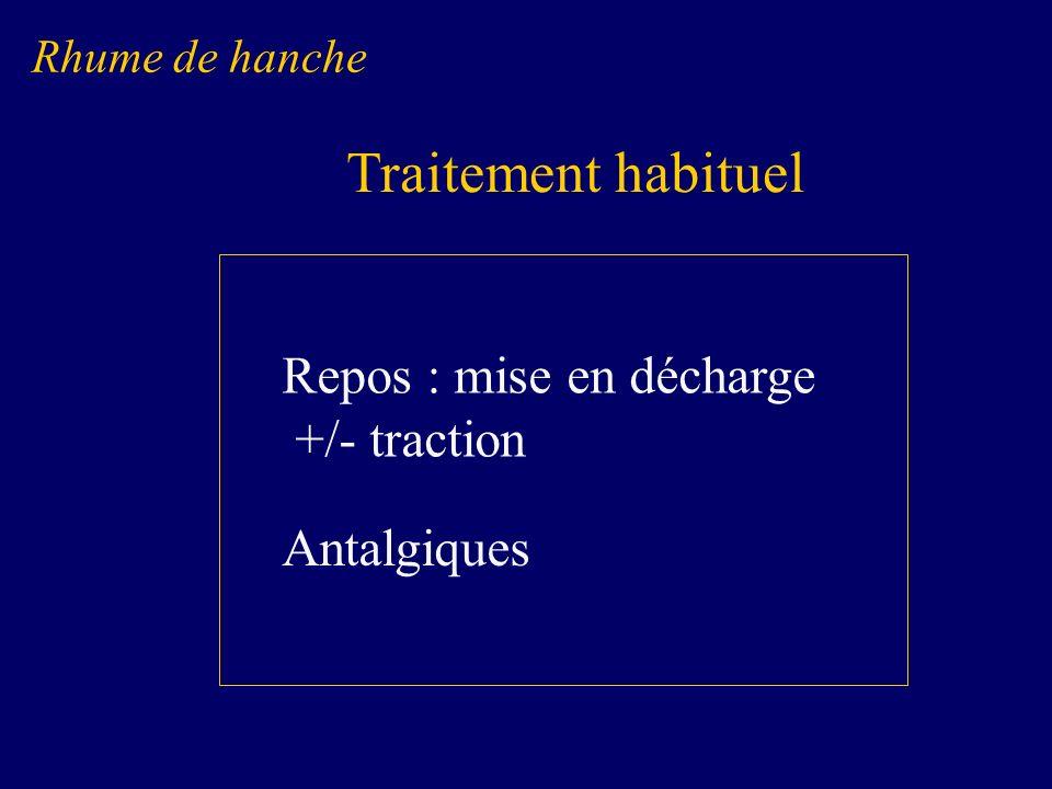 Repos : mise en décharge +/- traction Antalgiques Rhume de hanche Traitement habituel