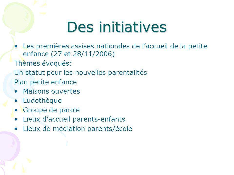 Des initiatives Les premières assises nationales de laccueil de la petite enfance (27 et 28/11/2006) Thèmes évoqués: Un statut pour les nouvelles pare