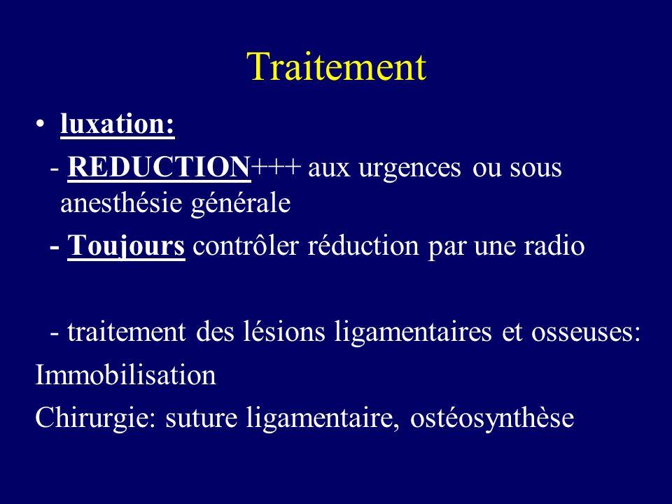 Traitement luxation: - REDUCTION+++ aux urgences ou sous anesthésie générale - Toujours contrôler réduction par une radio - traitement des lésions lig