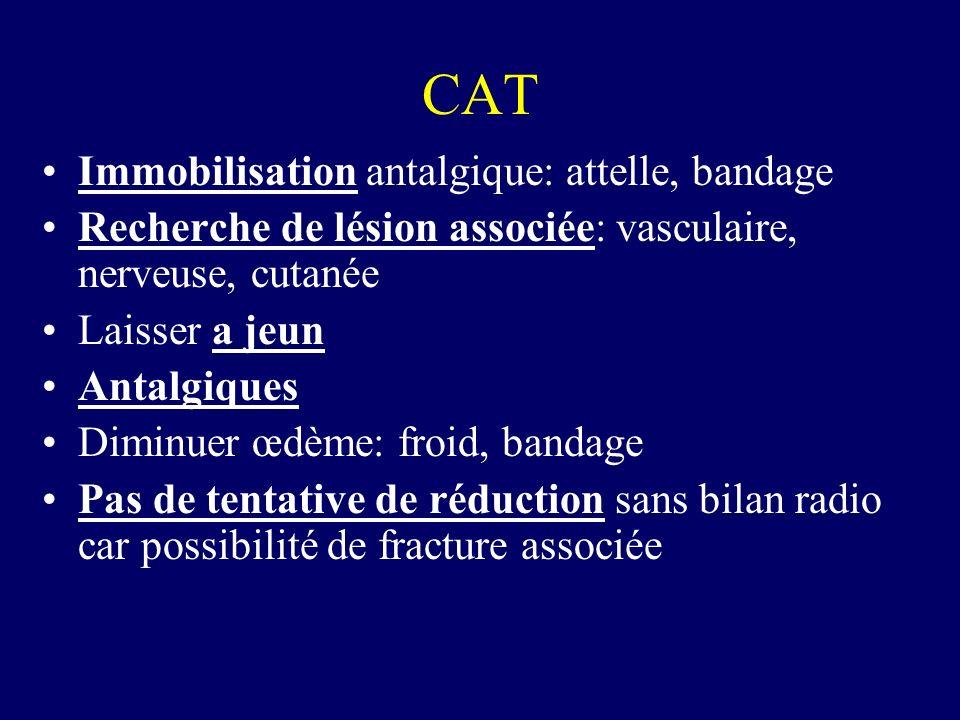 CAT Immobilisation antalgique: attelle, bandage Recherche de lésion associée: vasculaire, nerveuse, cutanée Laisser a jeun Antalgiques Diminuer œdème: