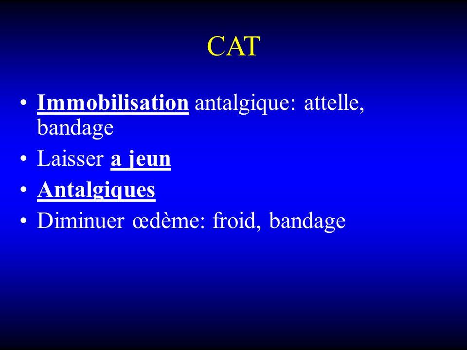 CAT Immobilisation antalgique: attelle, bandage Laisser a jeun Antalgiques Diminuer œdème: froid, bandage