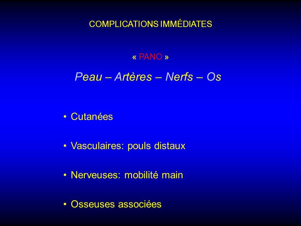 COMPLICATIONS IMMÉDIATES Peau – Artères – Nerfs – Os Cutanées Vasculaires: pouls distaux Nerveuses: mobilité main Osseuses associées « PANO »