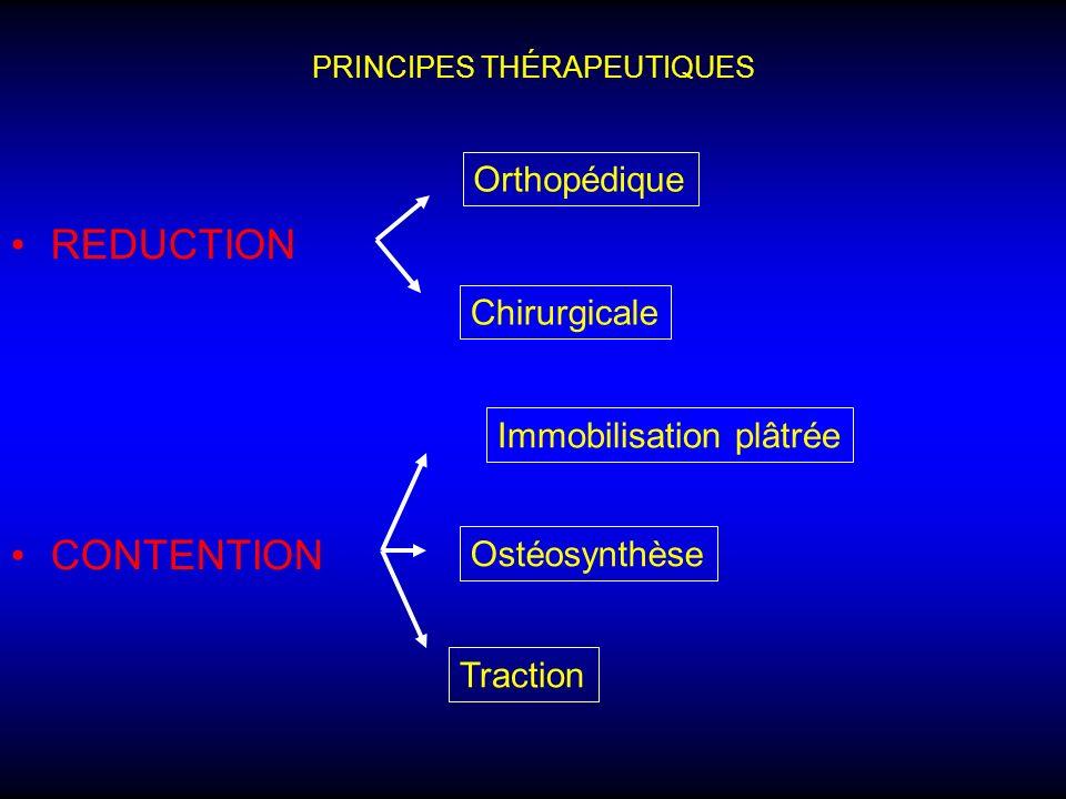 PRINCIPES THÉRAPEUTIQUES REDUCTION CONTENTION Orthopédique Chirurgicale Traction Immobilisation plâtrée Ostéosynthèse