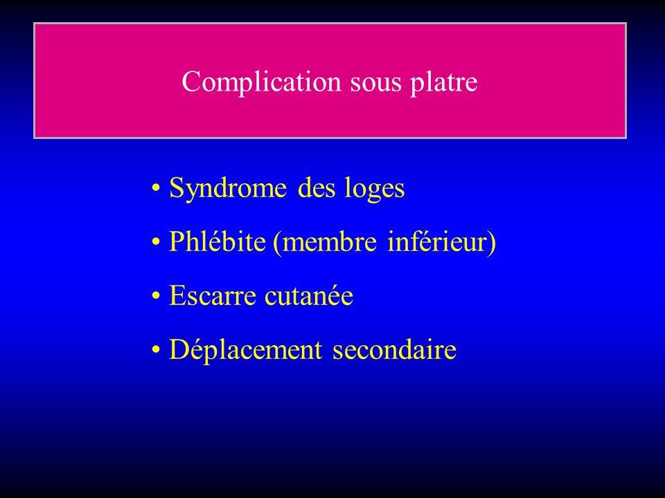 Complication sous platre Syndrome des loges Phlébite (membre inférieur) Escarre cutanée Déplacement secondaire