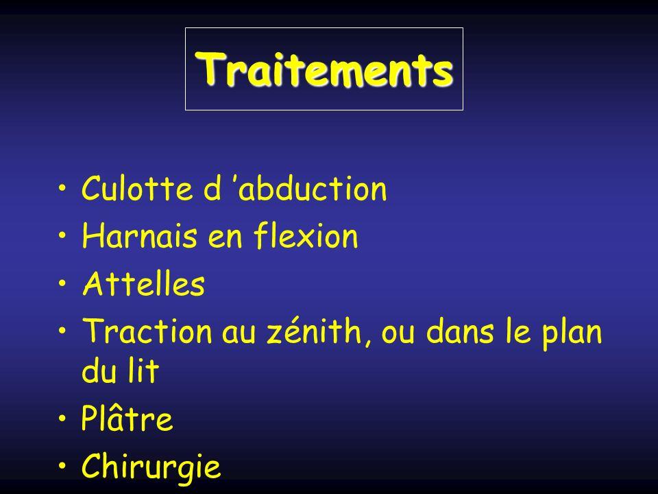 Traitements Culotte d abduction Harnais en flexion Attelles Traction au zénith, ou dans le plan du lit Plâtre Chirurgie