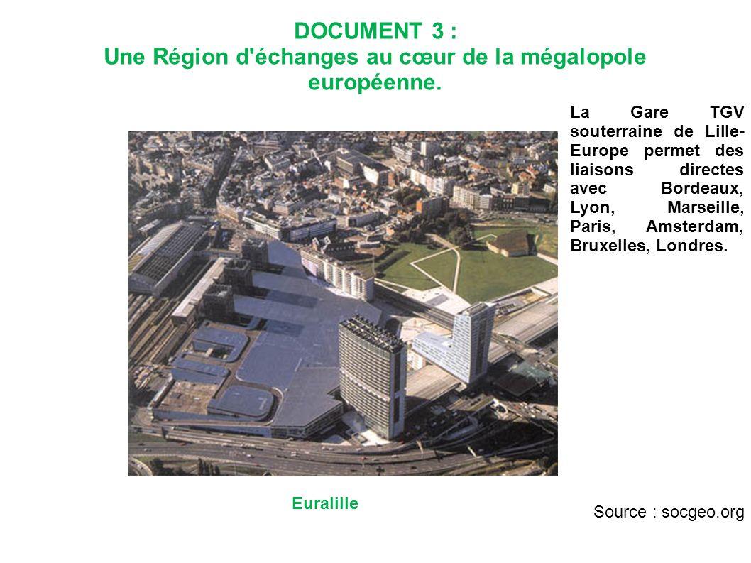 DOCUMENT 3 : Une Région d'échanges au cœur de la mégalopole européenne. Euralille La Gare TGV souterraine de Lille- Europe permet des liaisons directe