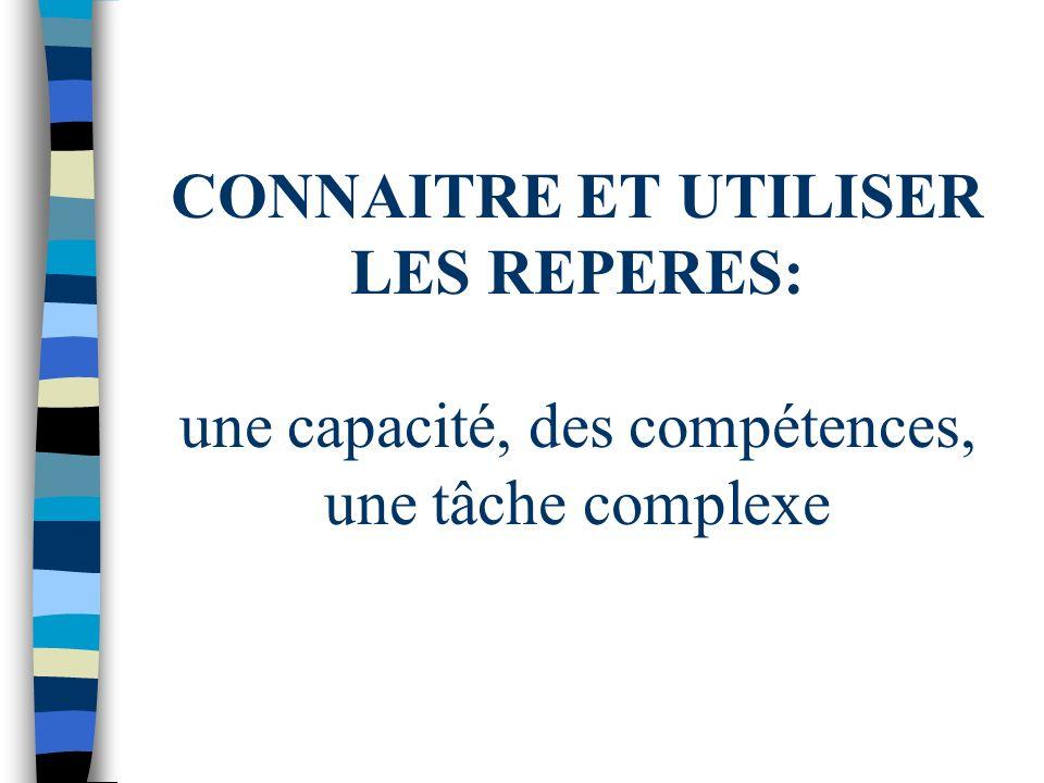 CONNAITRE ET UTILISER LES REPERES: une capacité, des compétences, une tâche complexe