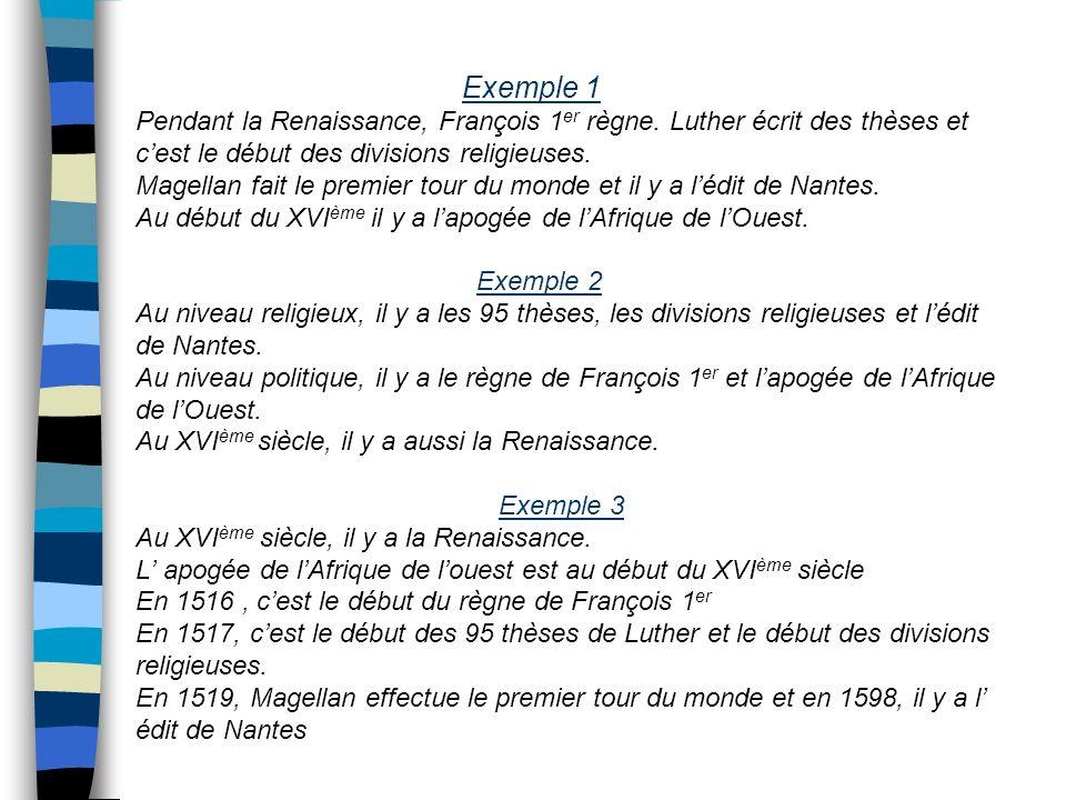 Exemple 1 Pendant la Renaissance, François 1 er règne. Luther écrit des thèses et cest le début des divisions religieuses. Magellan fait le premier to