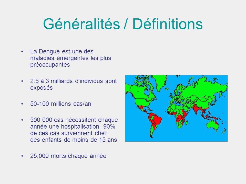 Généralités / Définitions La Dengue est une des maladies émergentes les plus préoccupantes 2.5 à 3 milliards dindividus sont exposés 50-100 millions c
