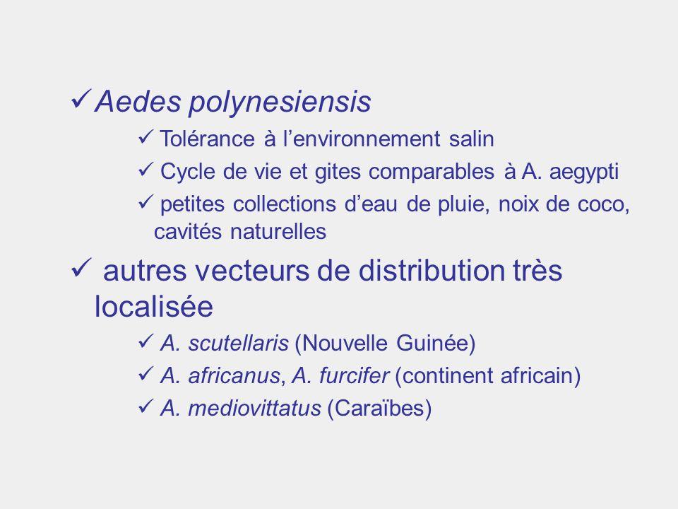 Aedes polynesiensis Tolérance à lenvironnement salin Cycle de vie et gites comparables à A. aegypti petites collections deau de pluie, noix de coco, c