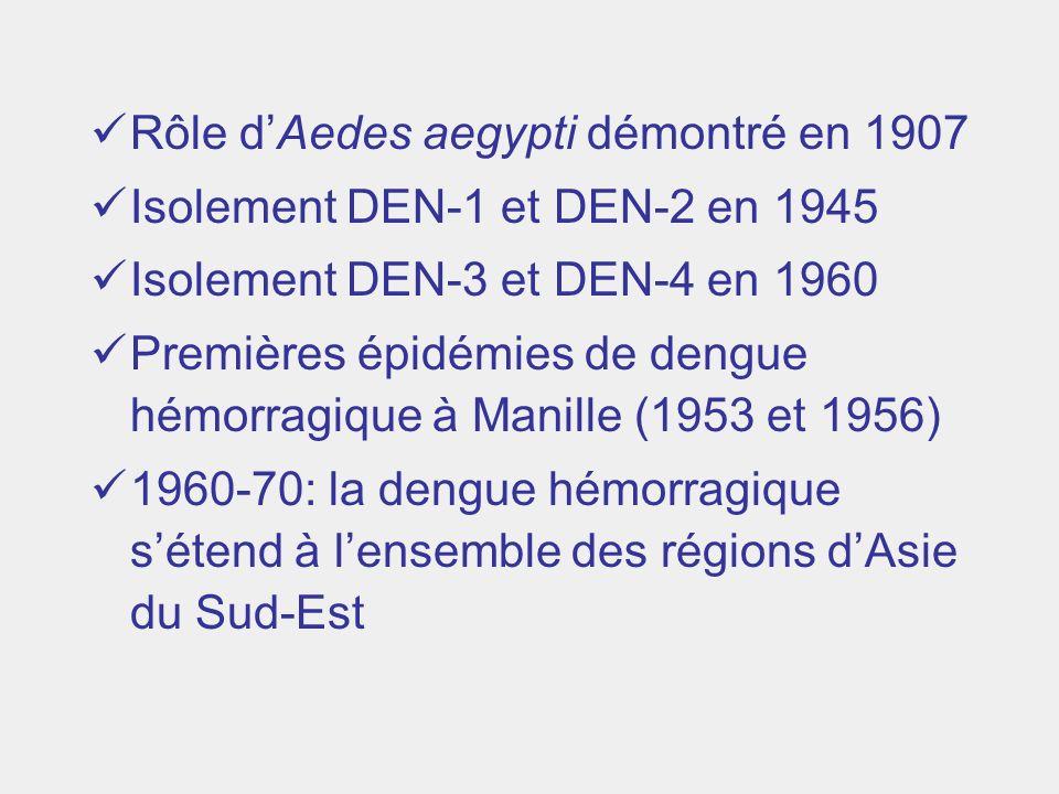 Rôle dAedes aegypti démontré en 1907 Isolement DEN-1 et DEN-2 en 1945 Isolement DEN-3 et DEN-4 en 1960 Premières épidémies de dengue hémorragique à Ma