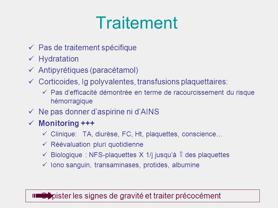 Traitement Pas de traitement spécifique Hydratation Antipyrétiques (paracétamol) Corticoides, Ig polyvalentes, transfusions plaquettaires: Pas deffica