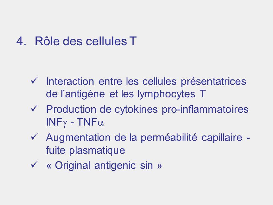 4.Rôle des cellules T Interaction entre les cellules présentatrices de lantigène et les lymphocytes T Production de cytokines pro-inflammatoires INF -