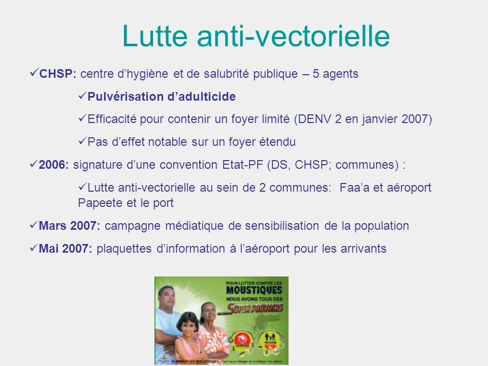 Lutte anti-vectorielle CHSP: centre dhygiène et de salubrité publique – 5 agents Pulvérisation dadulticide Efficacité pour contenir un foyer limité (D